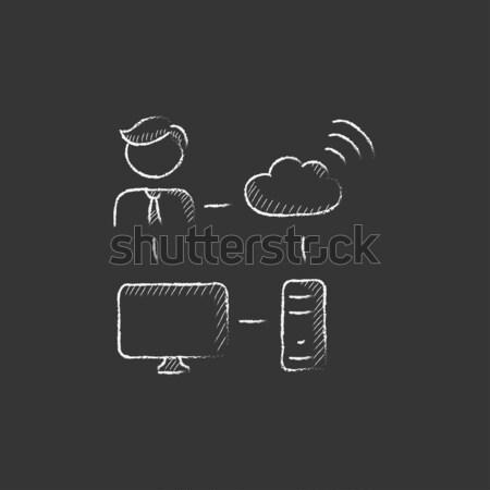 Mannelijke kantoormedewerker computer wifi krijt Stockfoto © RAStudio