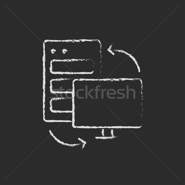 Personal computer set. CPU Central processing unit drawn in chalk Stock photo © RAStudio