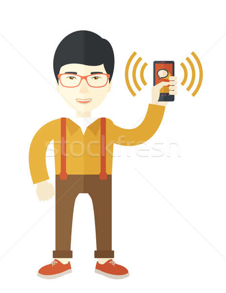 Office worker and his smartphone. Stock photo © RAStudio
