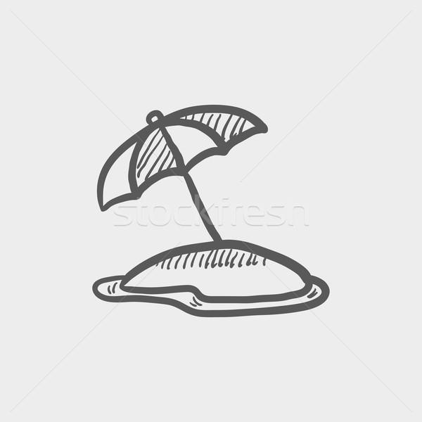 Guarda-sol esboço ícone teia móvel Foto stock © RAStudio