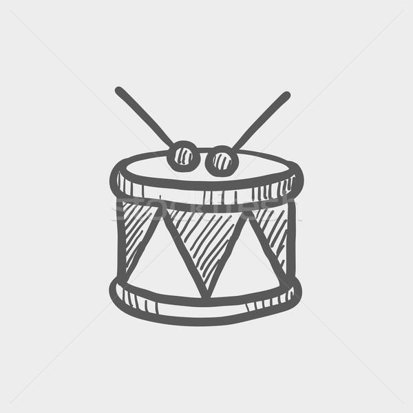 Drum with stick sketch icon Stock photo © RAStudio
