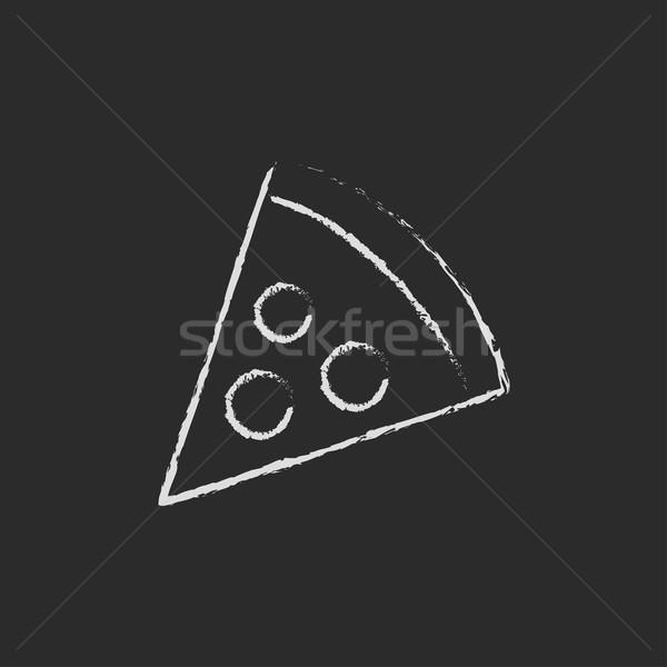 Pizza slice icon krijt Blackboard Stockfoto © RAStudio