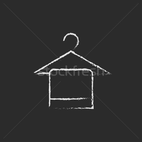 Handtuch Kleiderbügel Symbol gezeichnet Kreide Hand gezeichnet Stock foto © RAStudio