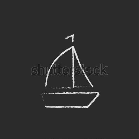 Sailboat icon drawn in chalk. Stock photo © RAStudio