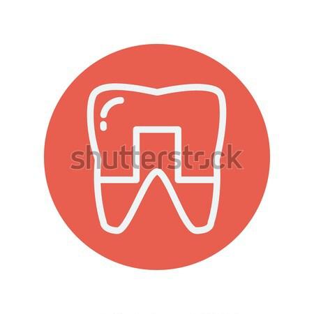 Stok fotoğraf: Diş · ikon · tebeşir · tahta