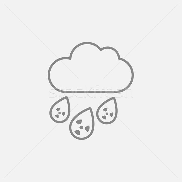 Radyoaktif bulut yağmur hat ikon web Stok fotoğraf © RAStudio