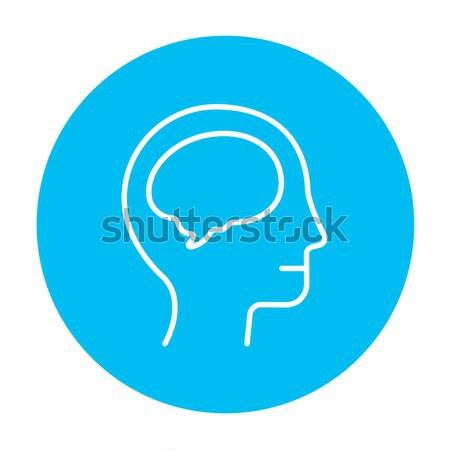Umani testa cervello line icona web Foto d'archivio © RAStudio