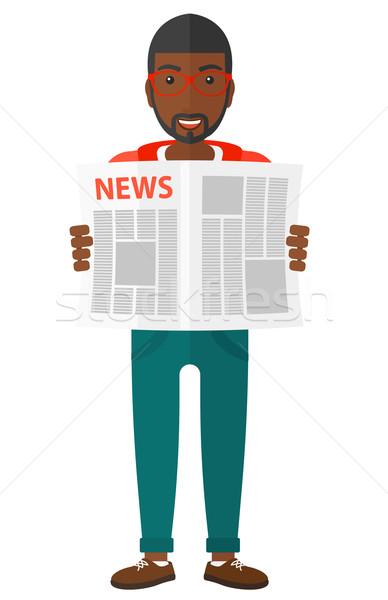 репортер чтение газета счастливым вектора дизайна Сток-фото © RAStudio