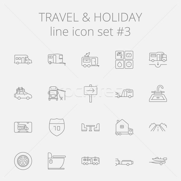 Zdjęcia stock: Podróży · wakacje · wektora · ciemnoszary · ikona