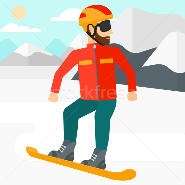 若い男 スノーボード ヒップスター 男 あごひげ 雪 ストックフォト © RAStudio