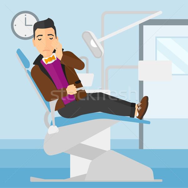 Stock fotó: Férfi · szenvedés · fogászati · szék · ül · iroda