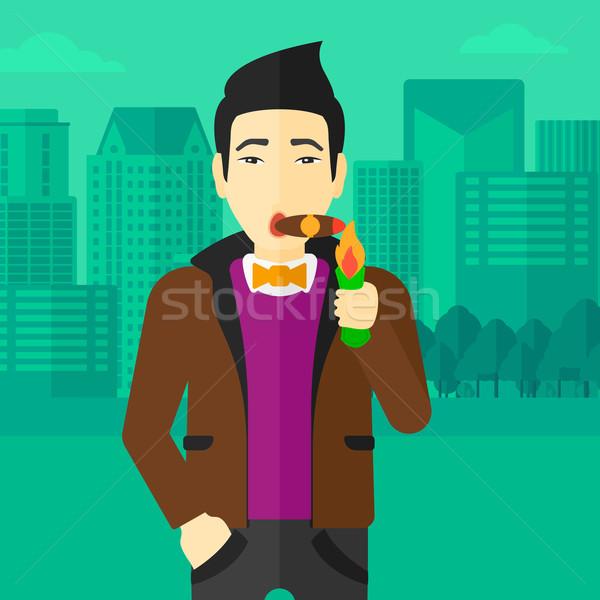 男 喫煙 シガー アジア 現代 市 ストックフォト © RAStudio