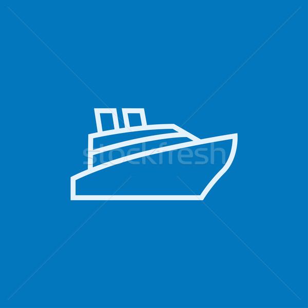 Statek wycieczkowy line ikona internetowych komórkowych Zdjęcia stock © RAStudio