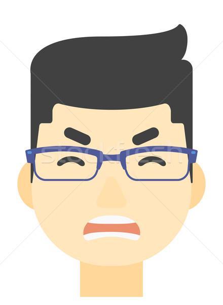 ストックフォト: 悲鳴 · 積極的な · 男 · アジア · ベクトル · デザイン