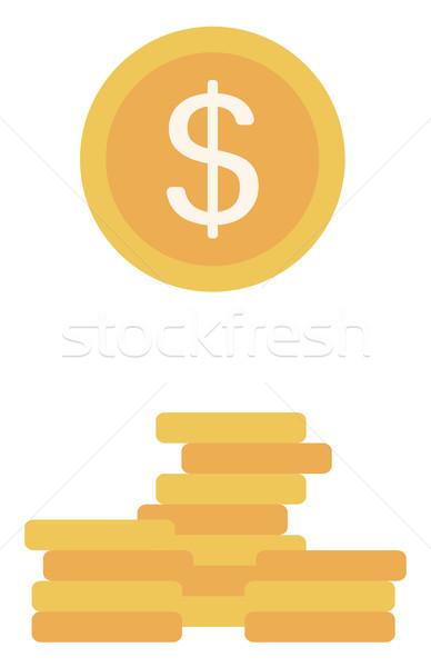 Gouden munt dollarteken vector ontwerp illustratie geïsoleerd Stockfoto © RAStudio