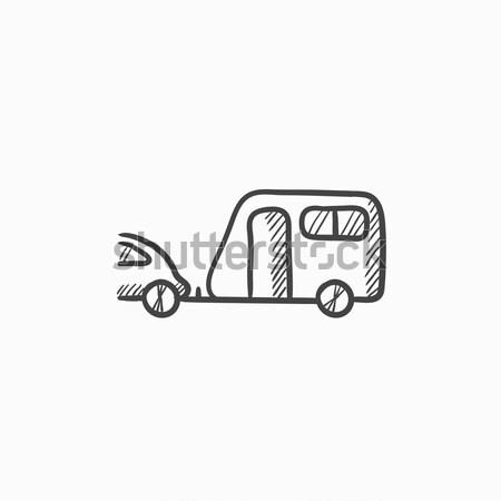 Foto stock: Carro · caravana · esboço · ícone · teia · móvel