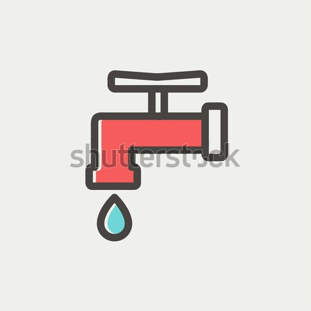 Faucet with water drop line icon. Stock photo © RAStudio
