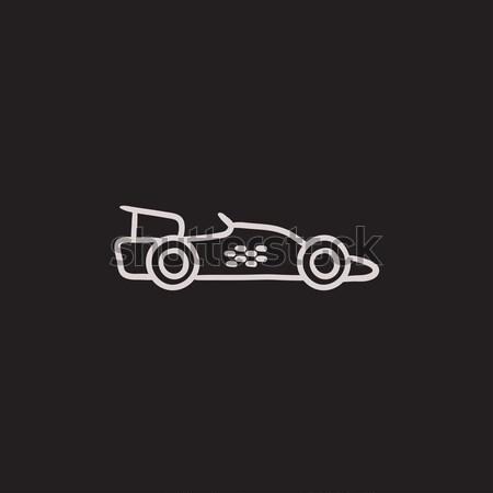 Race auto lijn icon hoeken web mobiele Stockfoto © RAStudio