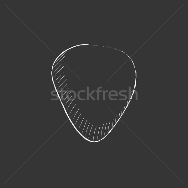Guitar pick. Drawn in chalk icon. Stock photo © RAStudio