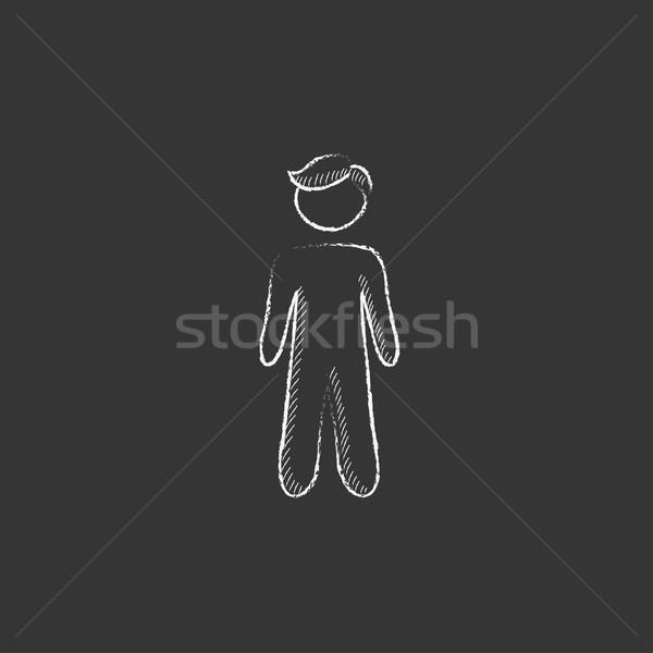 Businessman standing. Drawn in chalk icon. Stock photo © RAStudio