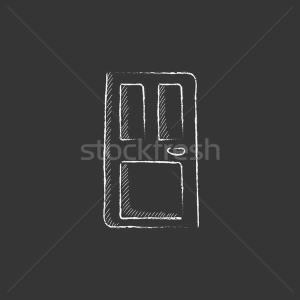 Przednie drzwi kredy ikona wektora Zdjęcia stock © RAStudio