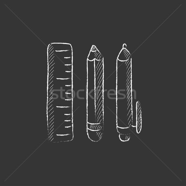 Schoolbenodigdheden krijt icon vector Stockfoto © RAStudio
