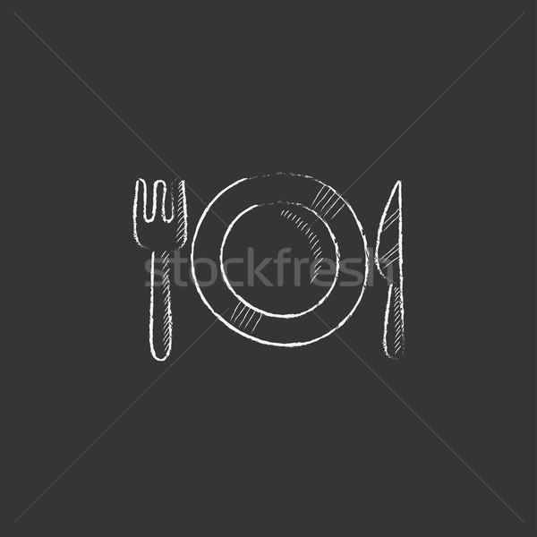 Plate with cutlery. Drawn in chalk icon. Stock photo © RAStudio