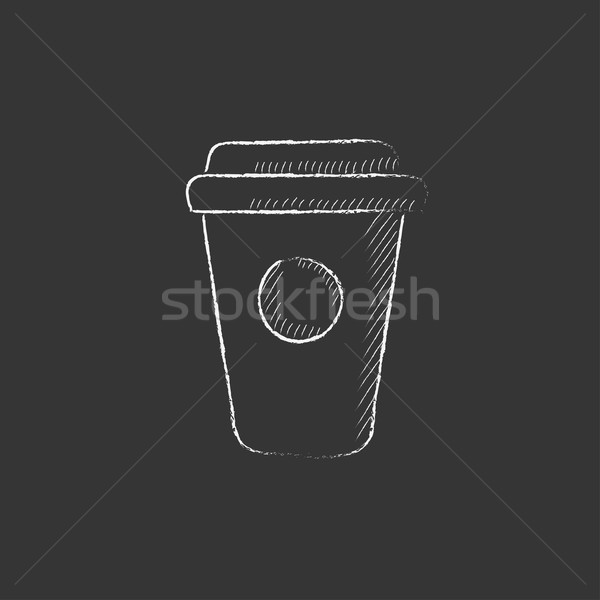 Disposable cup. Drawn in chalk icon. Stock photo © RAStudio