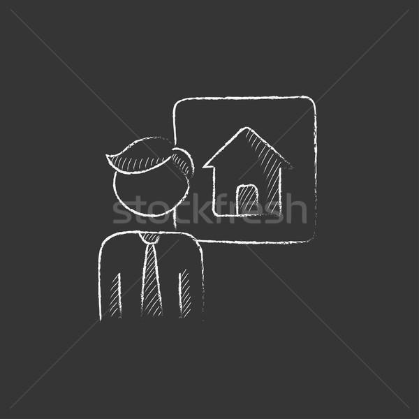 Agente immobiliare gesso icona vettore Foto d'archivio © RAStudio