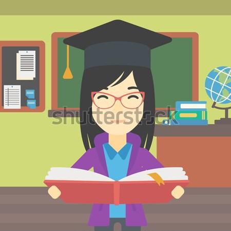 Mulher graduação boné livro livro aberto Foto stock © RAStudio