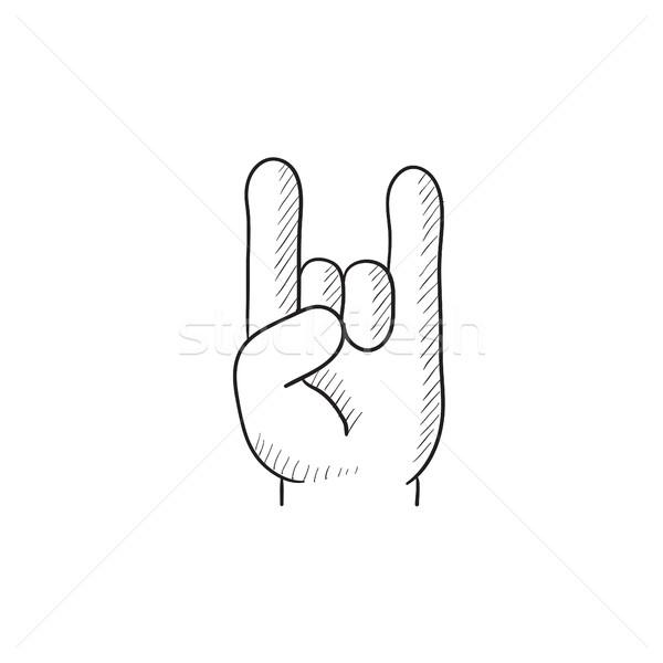 Rock rollen handteken schets icon vector Stockfoto © RAStudio