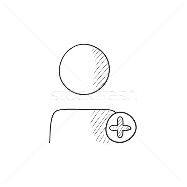 Felhasználó profil plusz jel rajz ikon vektor Stock fotó © RAStudio
