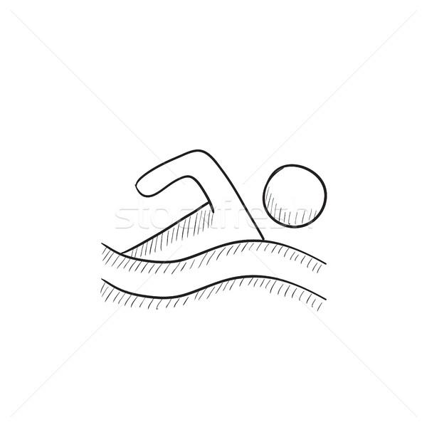 Nuotatore sketch icona vettore isolato Foto d'archivio © RAStudio