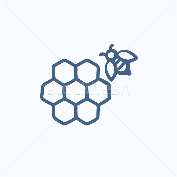 Méhsejt méh rajz ikon háló mobil Stock fotó © RAStudio