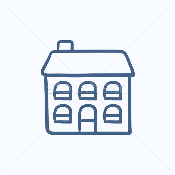 Two storey detached house sketch icon. Stock photo © RAStudio