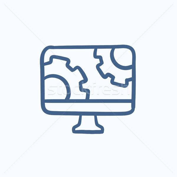 Bilgisayar monitörü dişliler kroki ikon vektör yalıtılmış Stok fotoğraf © RAStudio