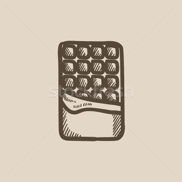 Opened bar of chocolate sketch icon. Stock photo © RAStudio