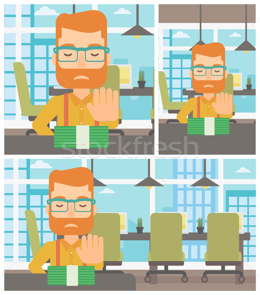 Man refusing bribe vector illustration. Stock photo © RAStudio