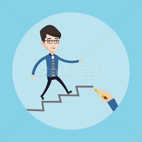 бизнесмен работает наверх молодые вверх лестницы Сток-фото © RAStudio