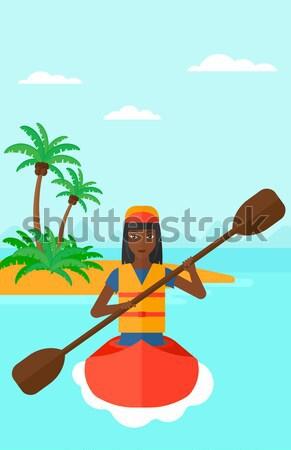 女性 ライディング カヤック アフリカ スポーツ 海 ストックフォト © RAStudio