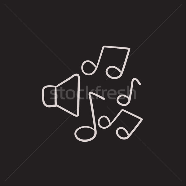 Loudspeakers with music notes sketch icon. Stock photo © RAStudio