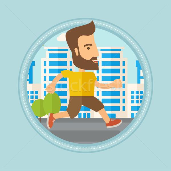 Young man running in the city vector illustration. Stock photo © RAStudio