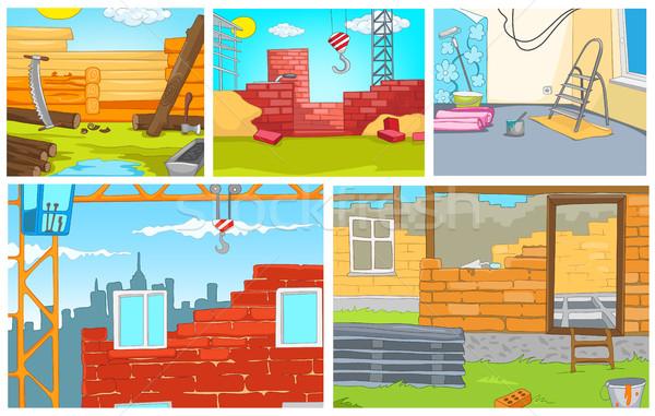 Karikatür ayarlamak arka inşaat vektör Stok fotoğraf © RAStudio