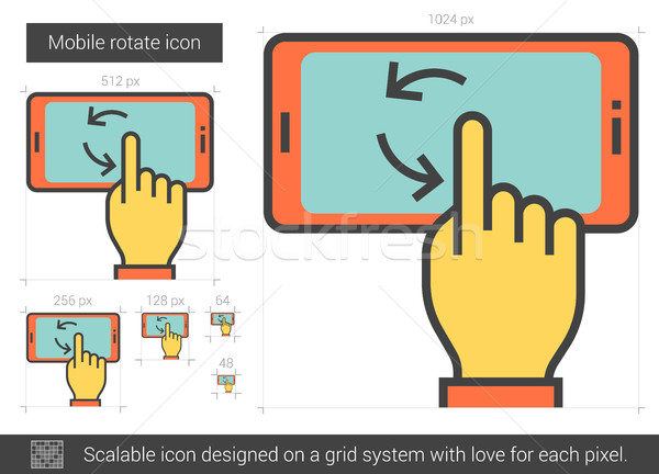мобильных вращать линия икона вектора изолированный Сток-фото © RAStudio