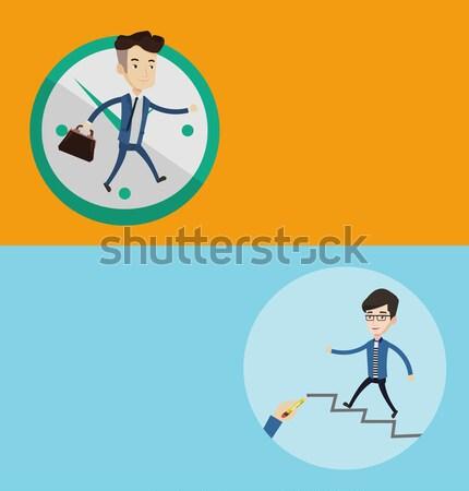 Business woman running on clock background. Stock photo © RAStudio