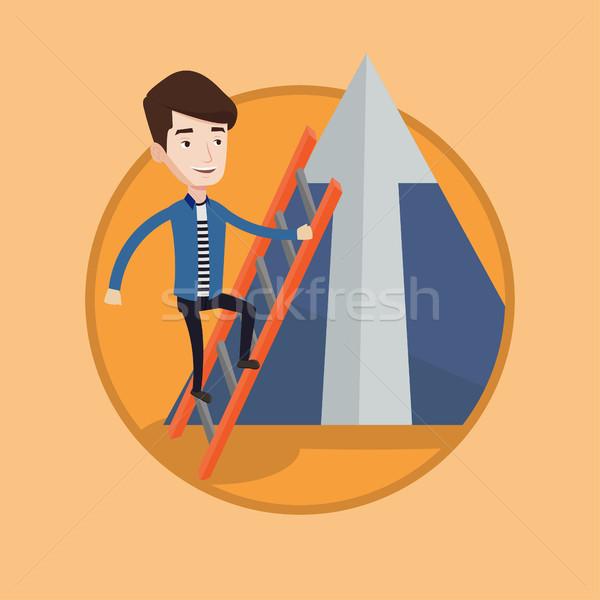 商业照片 / 矢量图: 商人 · 攀登 · 山 · 年轻 · 阶梯 · 顶部
