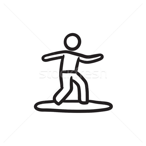 Male surfer riding on surfboard sketch icon. Stock photo © RAStudio