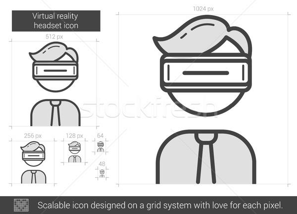 виртуальный реальность гарнитура линия икона вектора Сток-фото © RAStudio