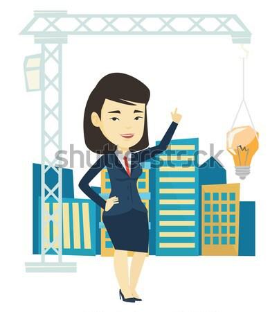 Agent immobilier ville modèle jeunes asian Photo stock © RAStudio