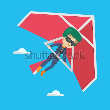 Woman flying on hang-glider vector illustration. Stock photo © RAStudio